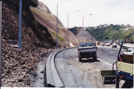 <p>Ngauranga Gorge, Wellington.  Powell Kerbing</p>